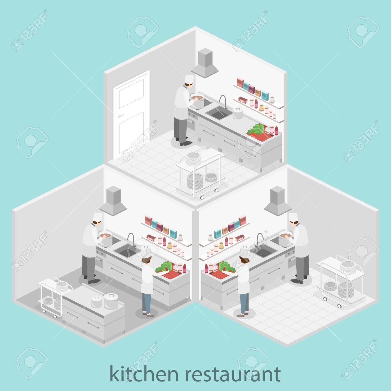 concept 3d plat intérieur isométrique de cuisine de restaurant