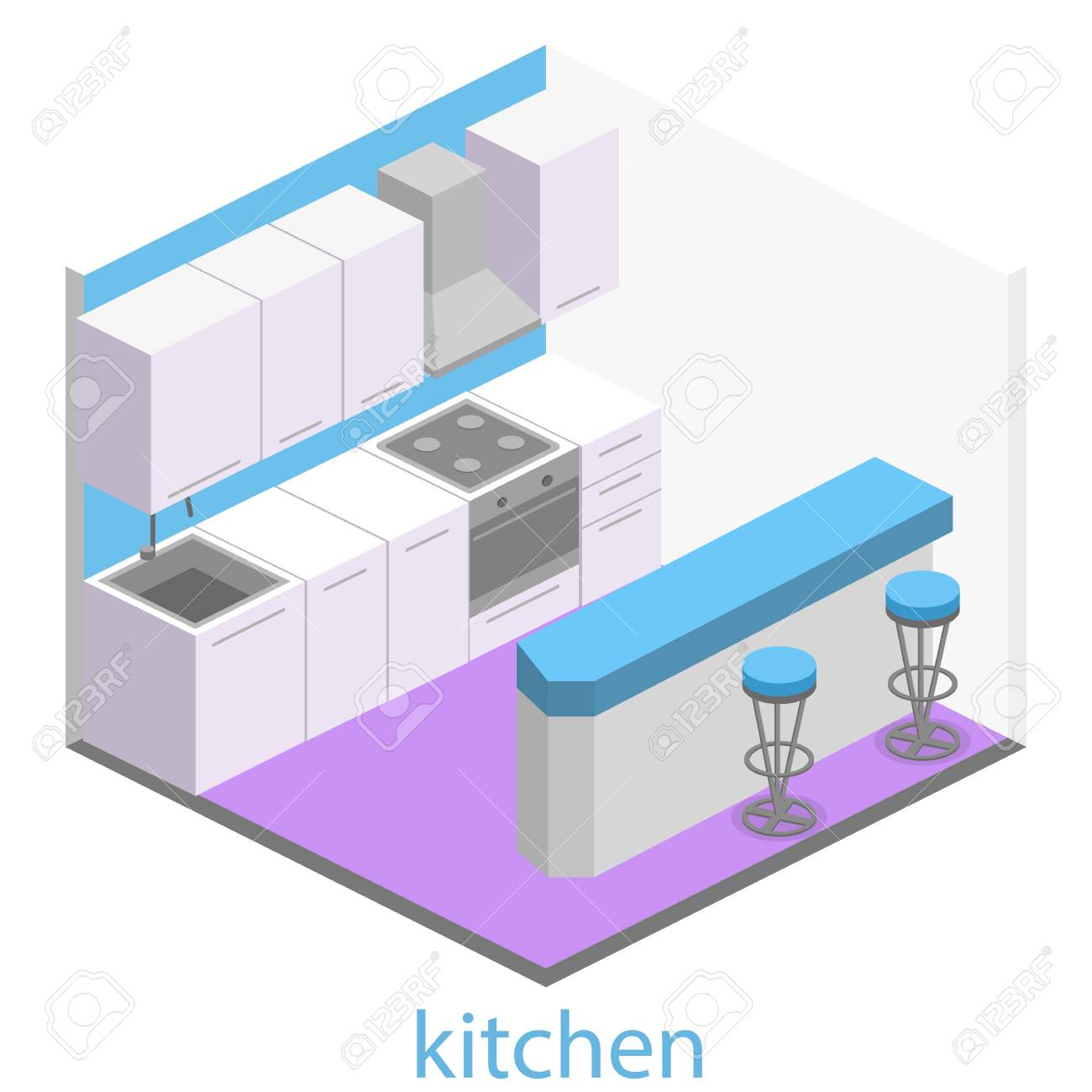 Isométrico Interior Plano 3D De La Cocina Moderna Juego Completo De ...