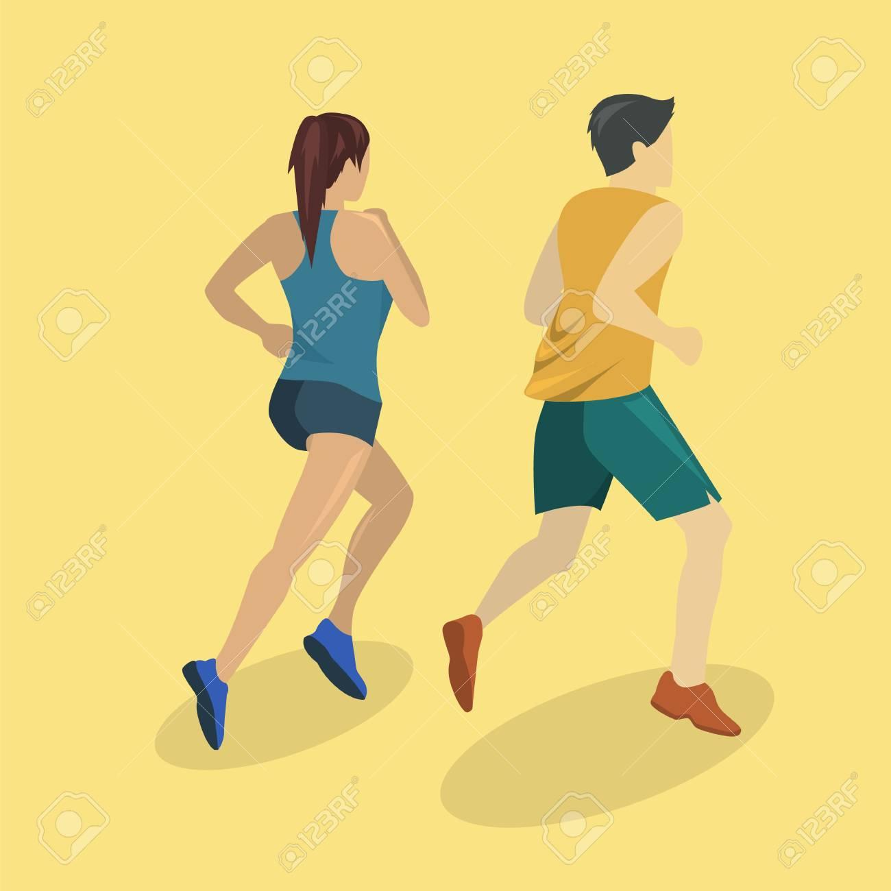 103b8851282b Isométrico plana 3D concepto aislados personas corriendo en la carretera.  Una niña y un hombre corren trotando.