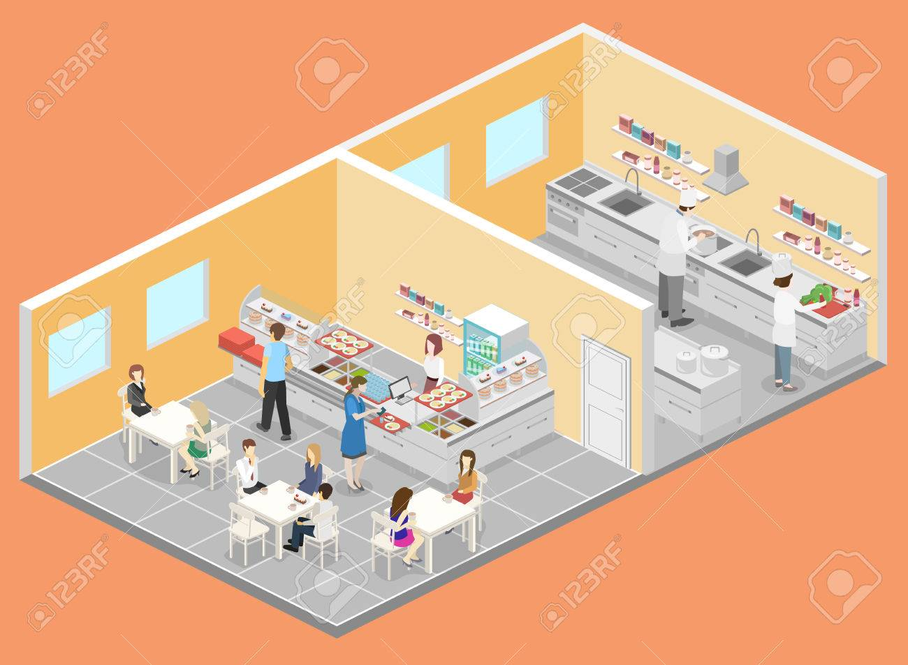 Isometric Flat 3d Interior Of Cafe Canteen And Restaurant Kitchen Royalty Free Cliparts Vectors And Stock Illustration Image 83384769
