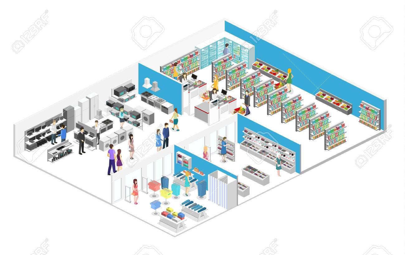isometric interior shopping mall, grocery, computer, household, equipment store. Flat 3d vector illustration. - 83574836