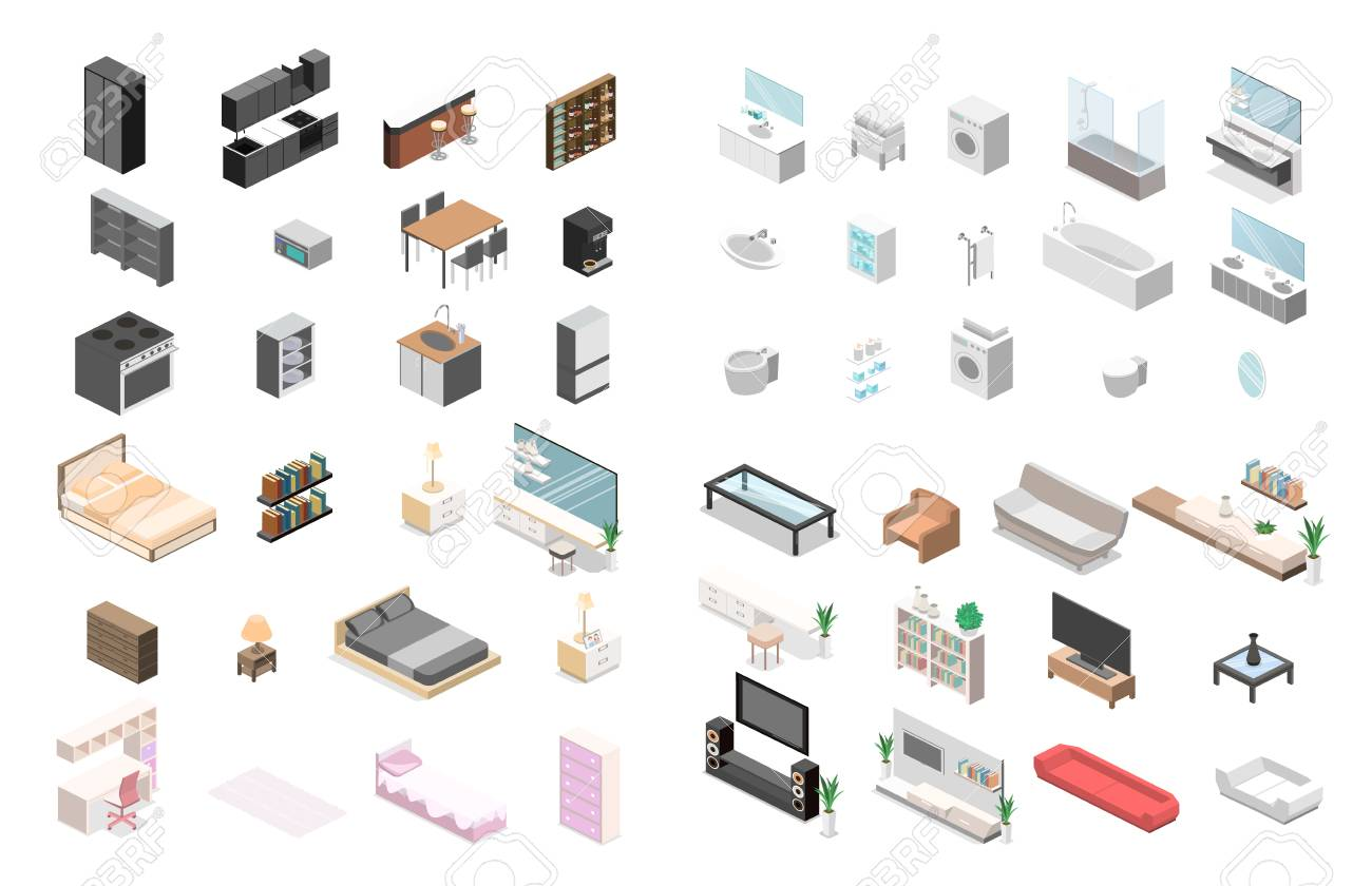 Furniture for an apartment. Isometric flat 3D isolated concept..