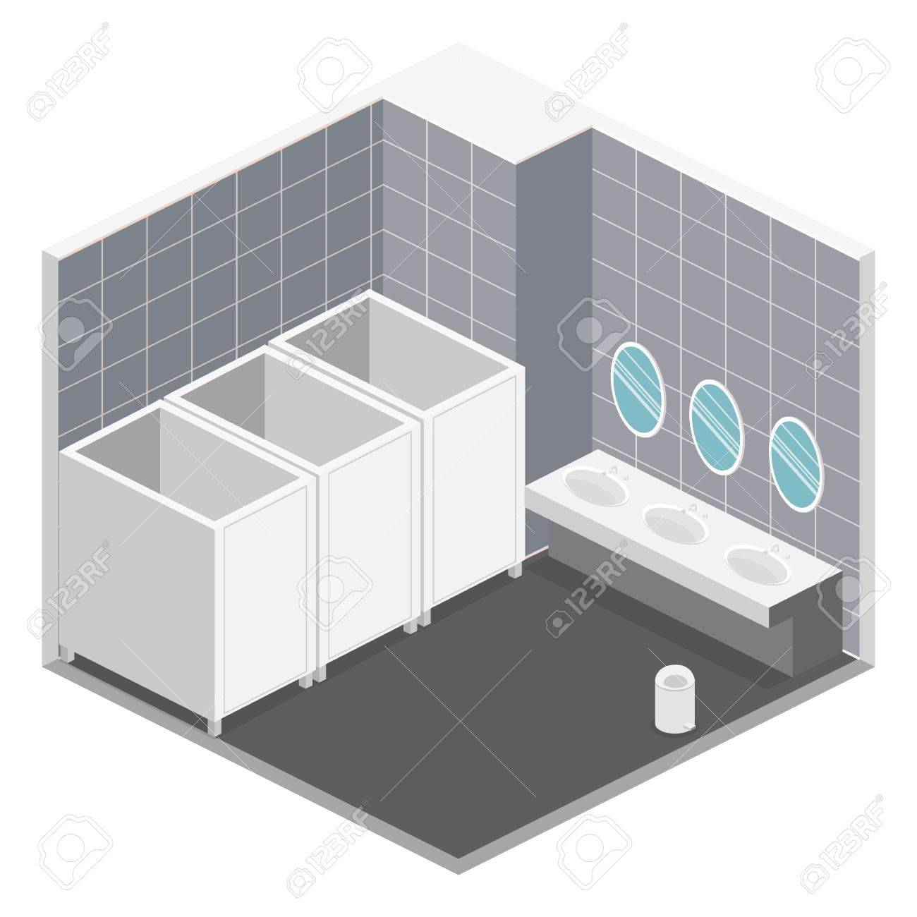 Isometric 3d Isolated Concept Vector Cutaway Interior Of Public