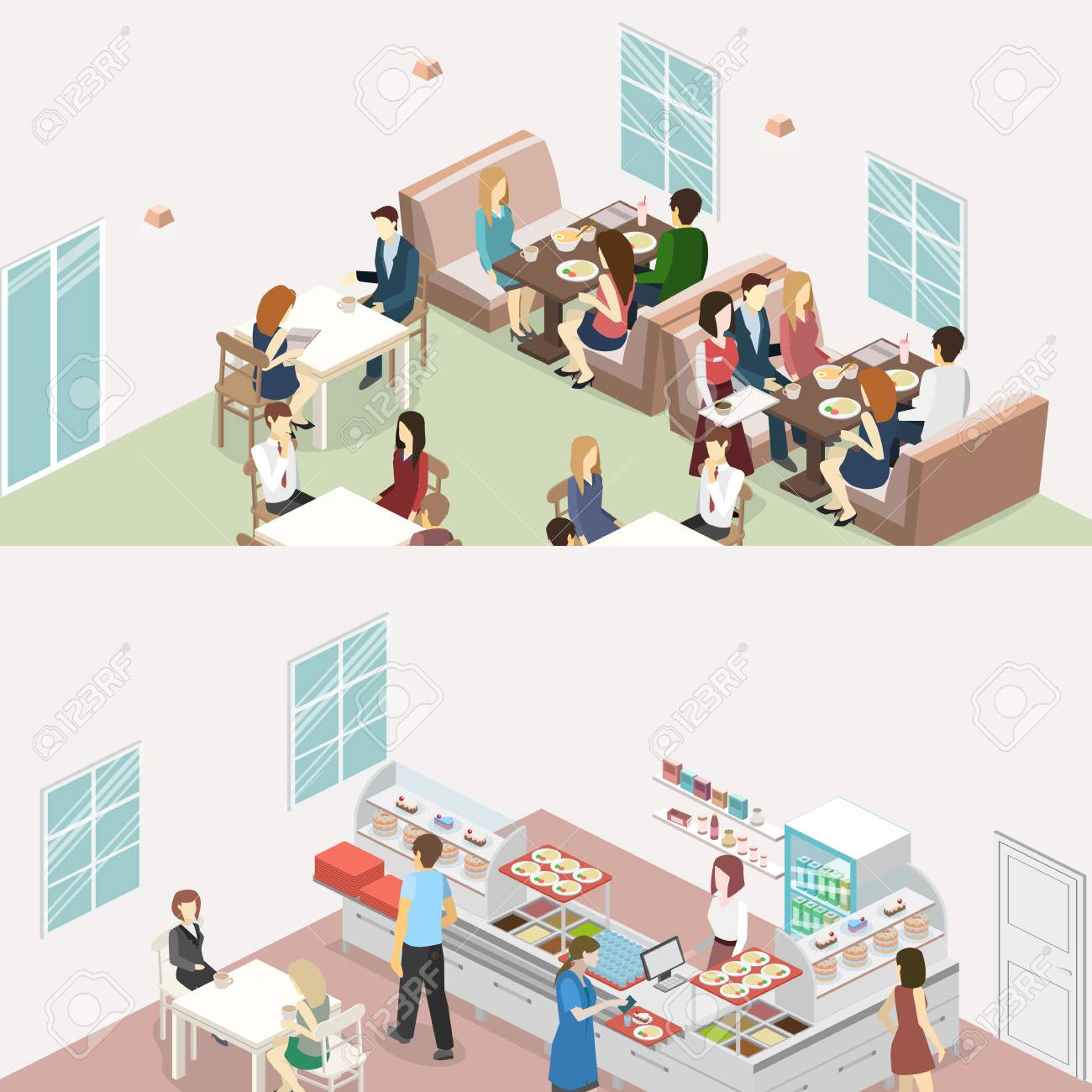 Isometric Flat 3d Concept Vector Interior Of Sweet Shop Cafe Royalty Free Cliparts Vectors And Stock Illustration Image 89092382