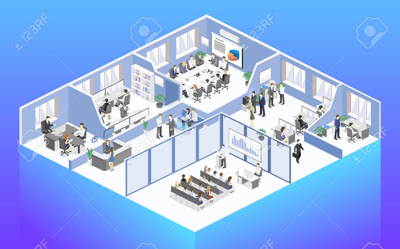 Isometric flat 3d abstract office floor interior departments concept vector. conference hall, offices, workplaces, director of the office interior - 110260684