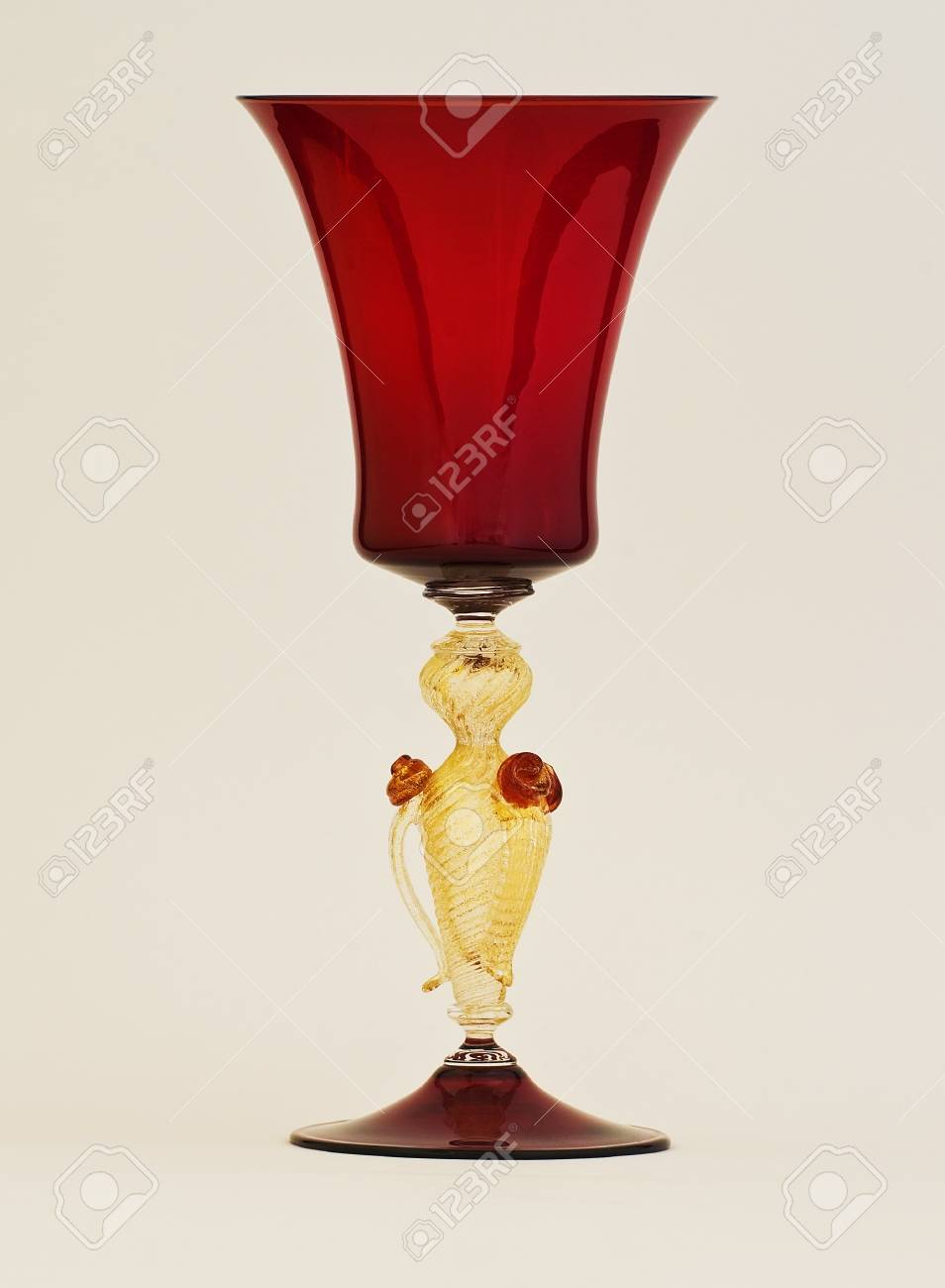 A red and gold venetian murano glass - 32558796