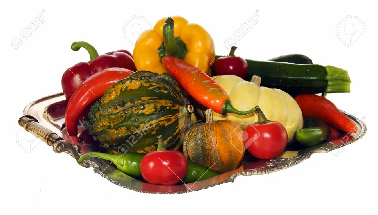 silver plate filled with peppers, pumpkins and courgettes isolated on white background - 33093866