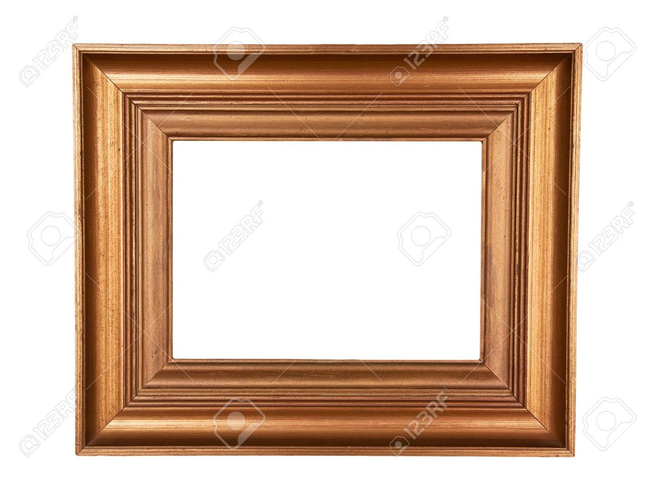 Antique Wood Frame With Classic Simple Design Gold Painted On ...