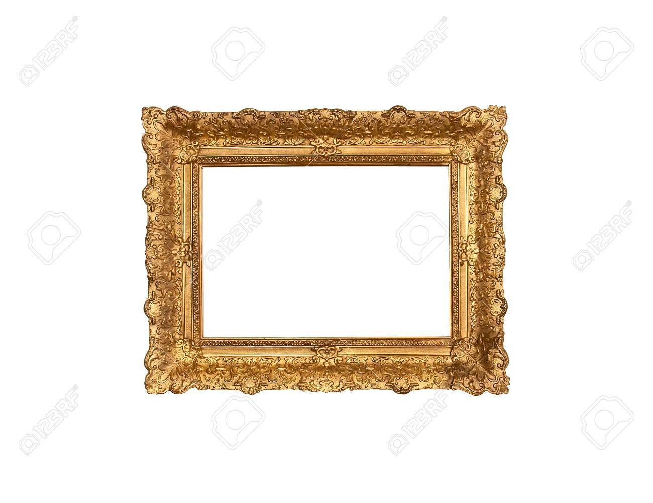 An old italian wood frame with rich plaster engravings and gold painted - 43791886