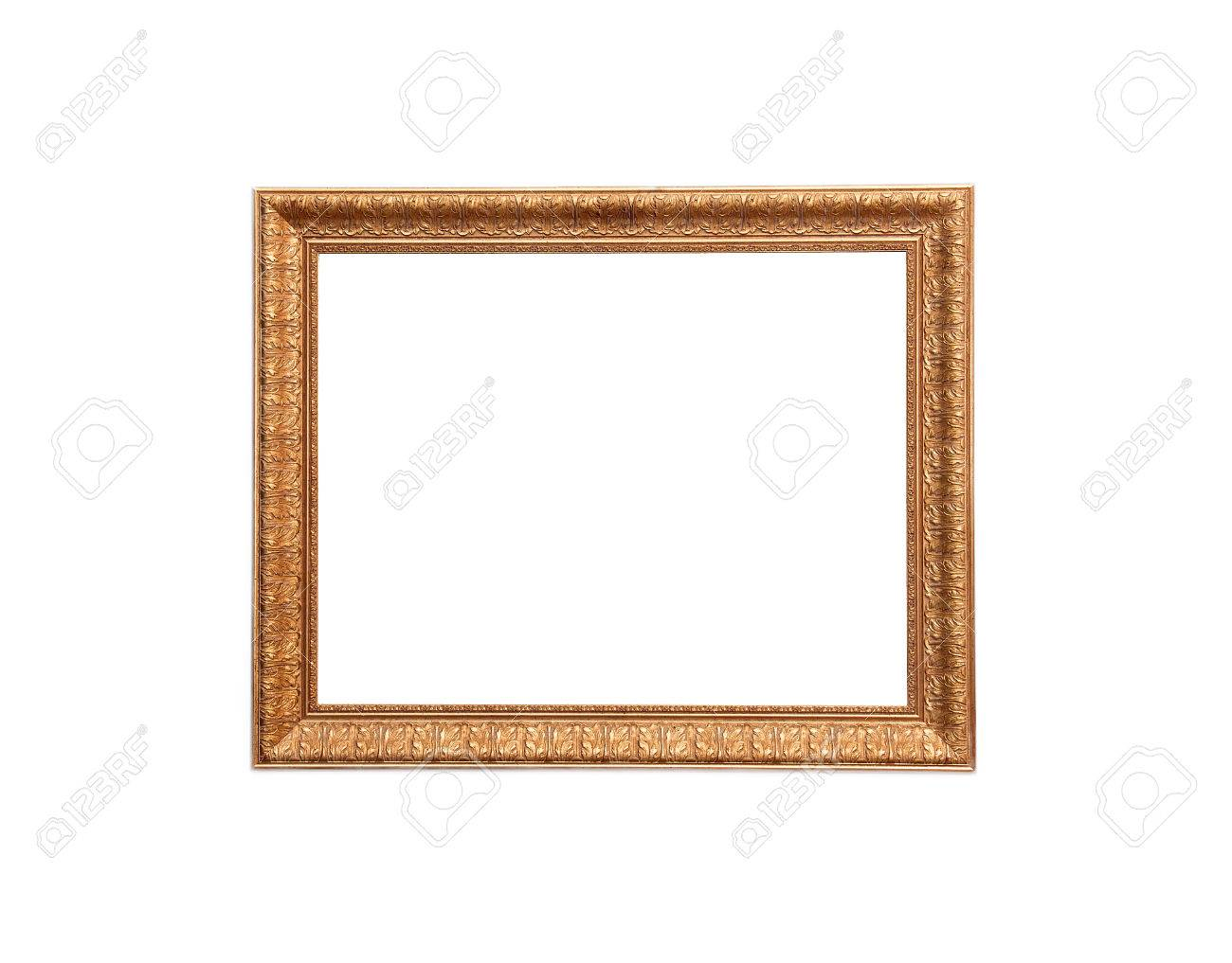 A modern wood frame with classic carved leaves design on white background - 43271170