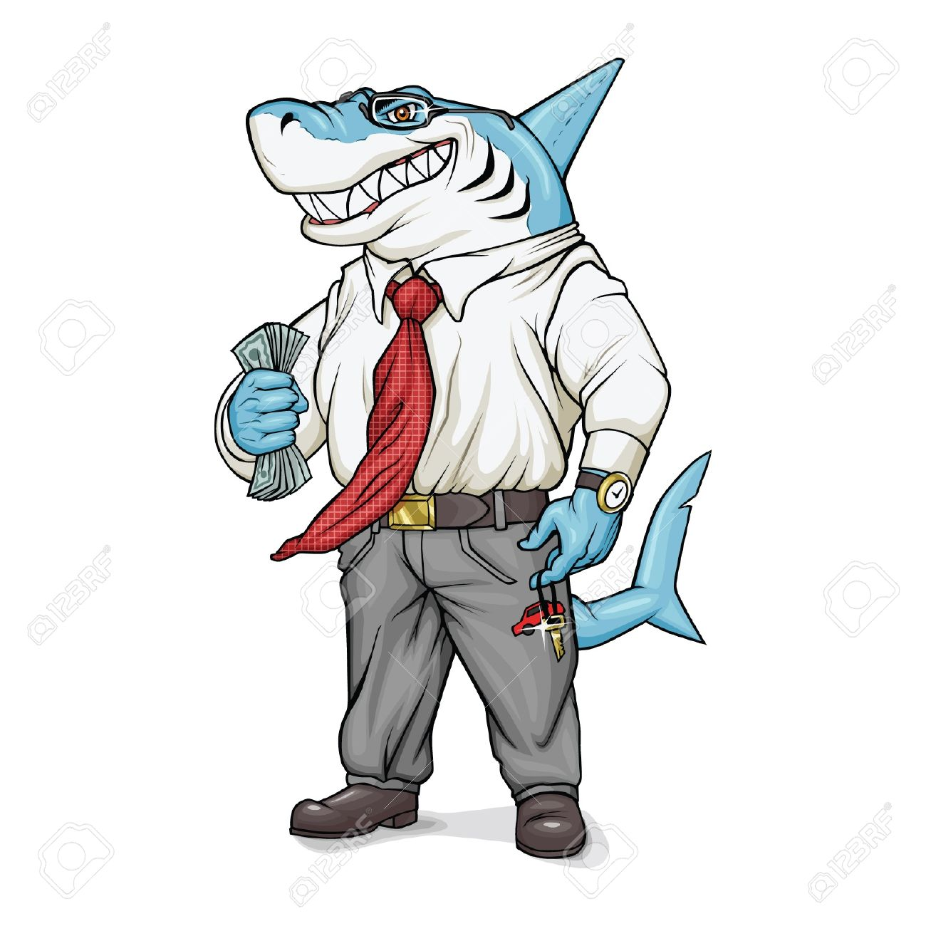 Shark-businessman is holding money and smiling. Stock Vector - 14209328