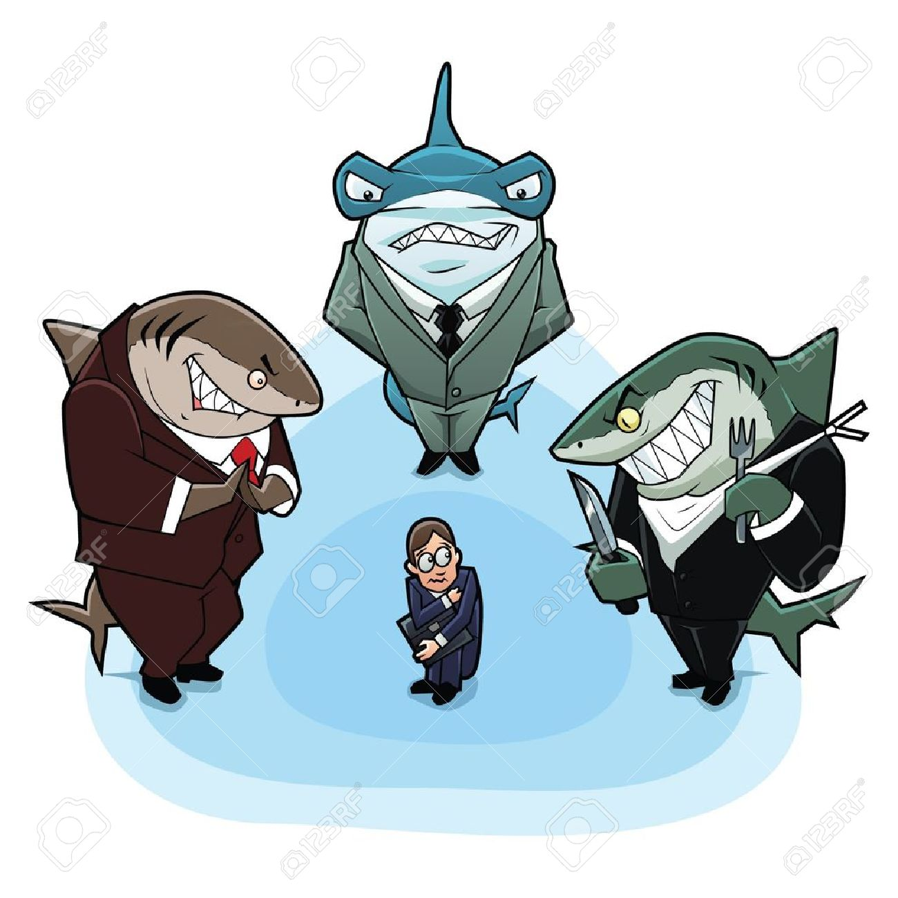 Business sharks surrounded the young and inexperienced man - 16387005