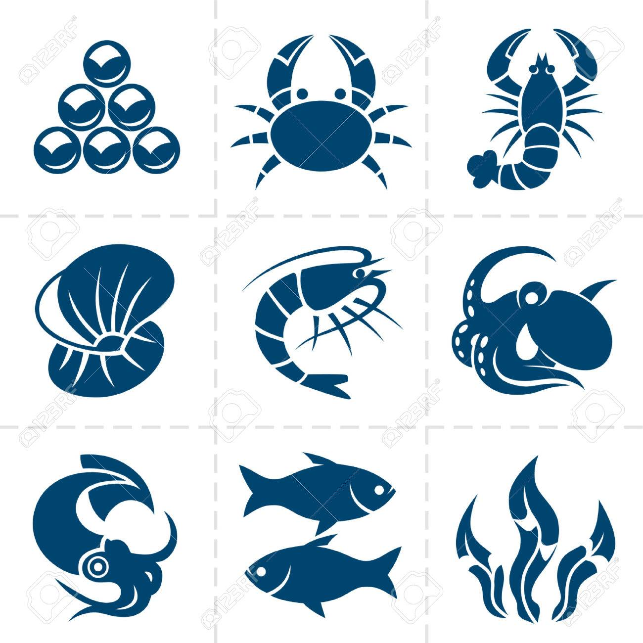 Seafood icon set - 35147007