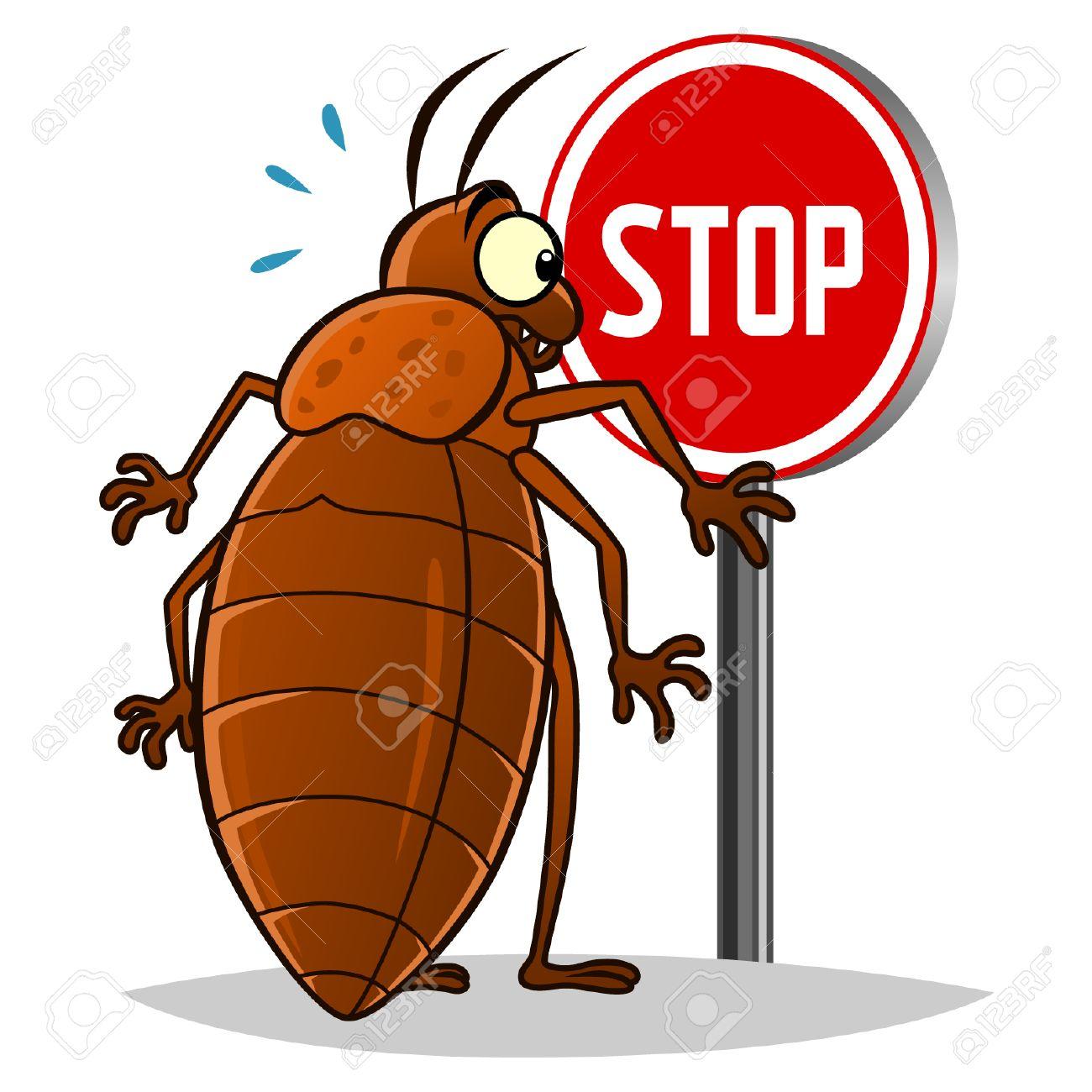 Stop pest illustration with a funny cartoon bedbug - 39342007