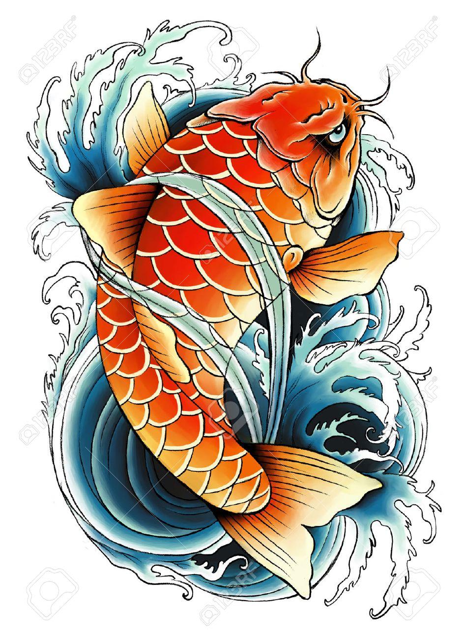 Asian carp painting - 39343706