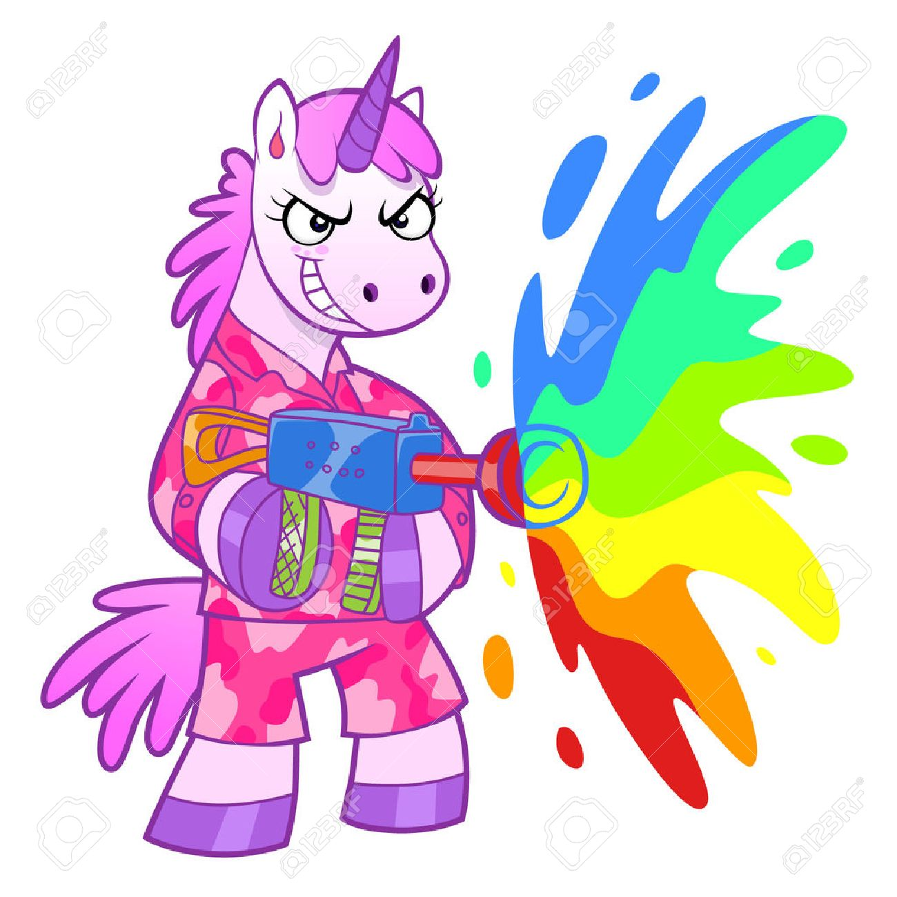 Unicorn soldier shooting from a rainbow cannon. - 39698753