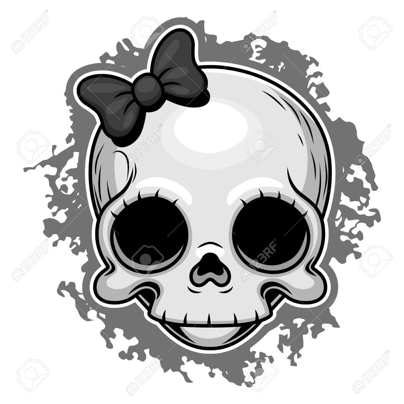 Cute girl skull with ribbon. - 60766387