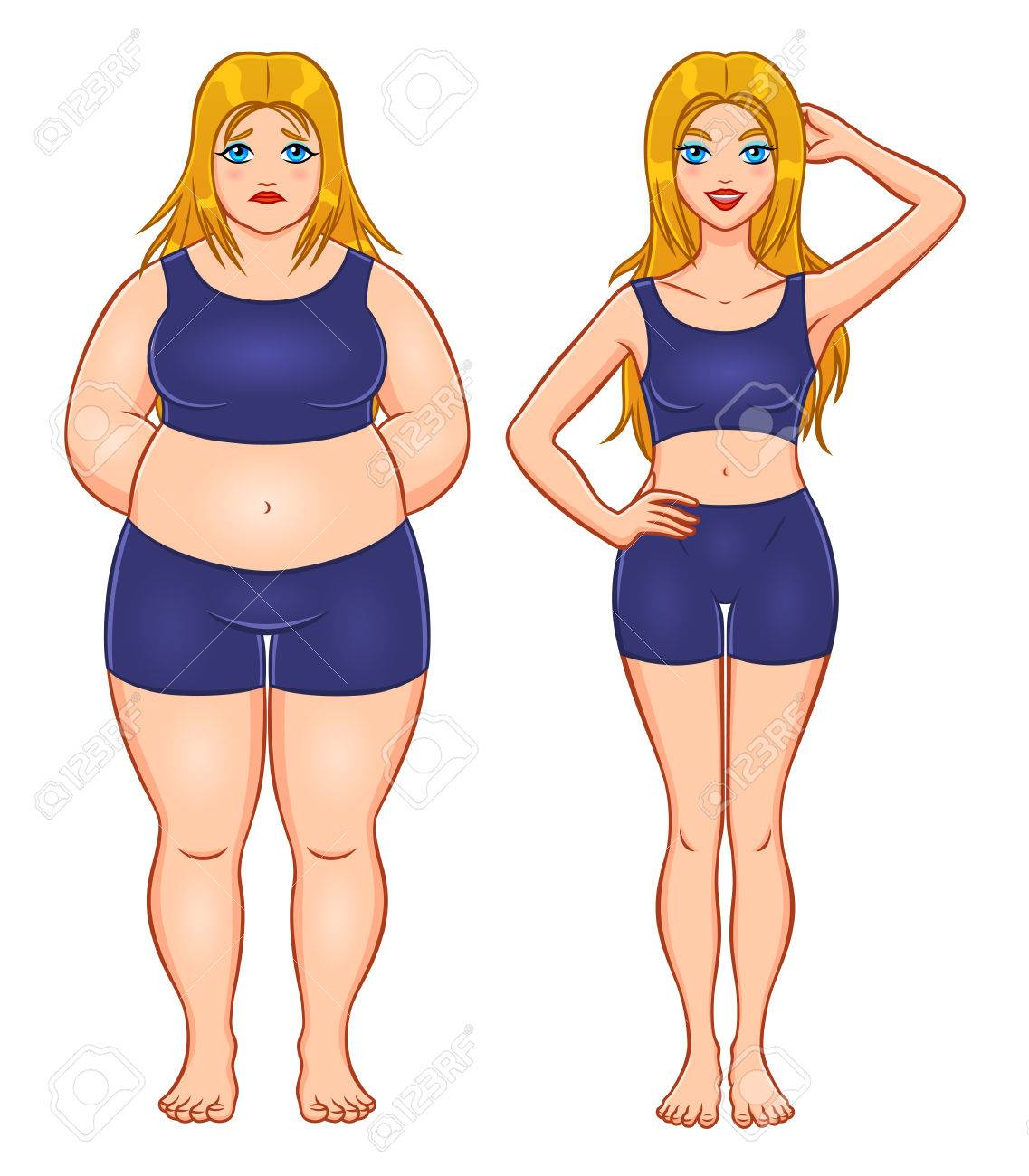 slim and fat woman stock vector 81739508