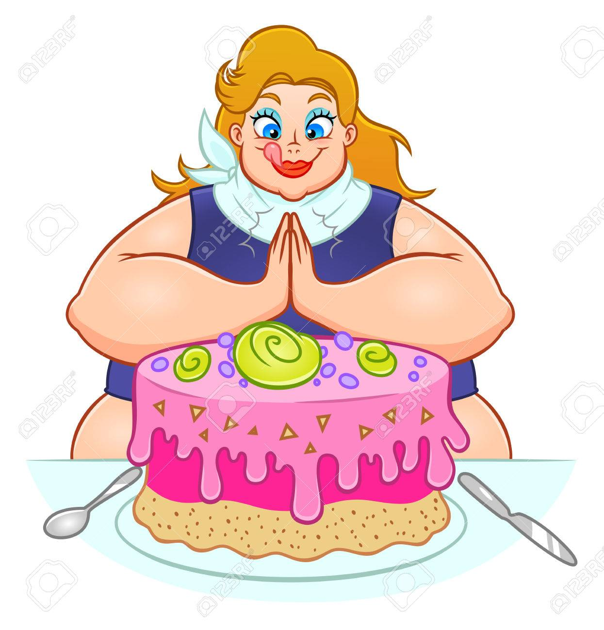 Fat Woman Is Going To Eat A Huge Cake Royalty Free Cliparts