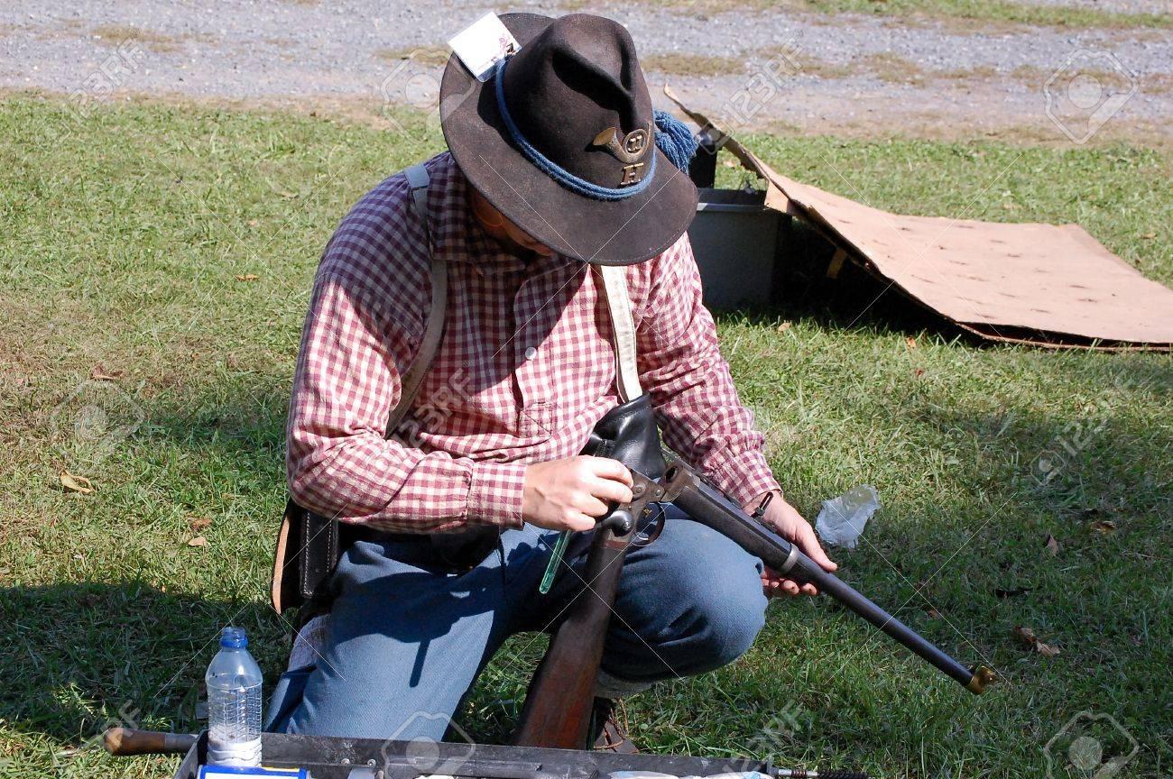 Civil War Skirmisher Checks His Carbine