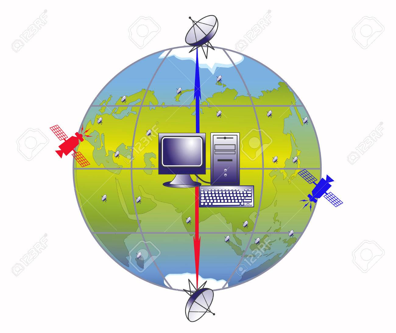 Illustration of working system of transfer of the information on a planet the Earth Stock Vector - 8629030