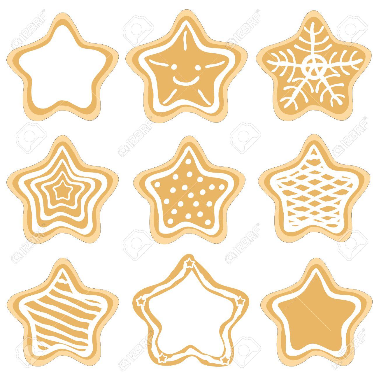 conjunto de decorado galletas de jengibre estrellas de navidad sobre fondo blanco foto de archivo