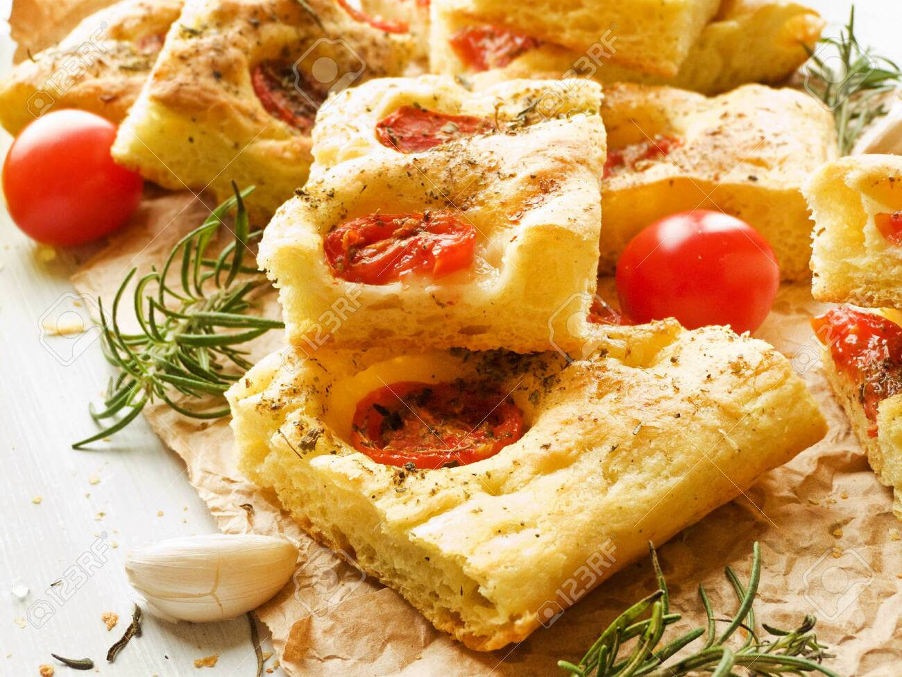 Italian Focaccia Bread With Rosemary Garlic Cherry Tomatoes Stock Photo Picture And Royalty Free Image Image 120363483