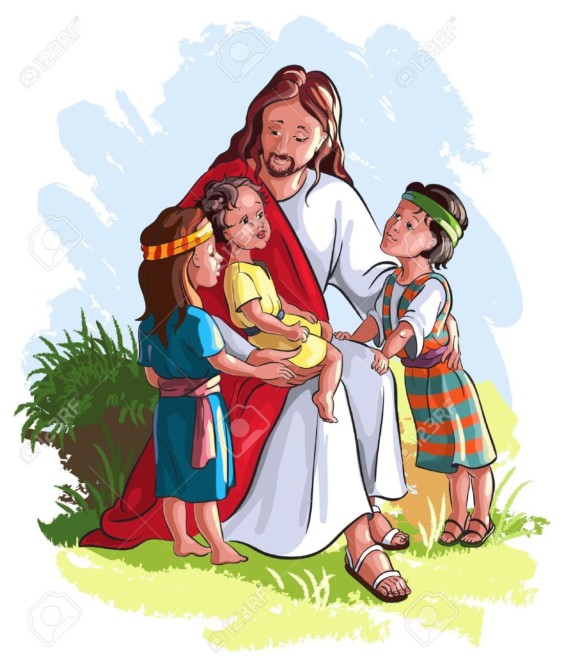 jesus with children royalty free cliparts vectors and stock rh 123rf com Jesus Miracles Clip Art Black Jesus Clip Art