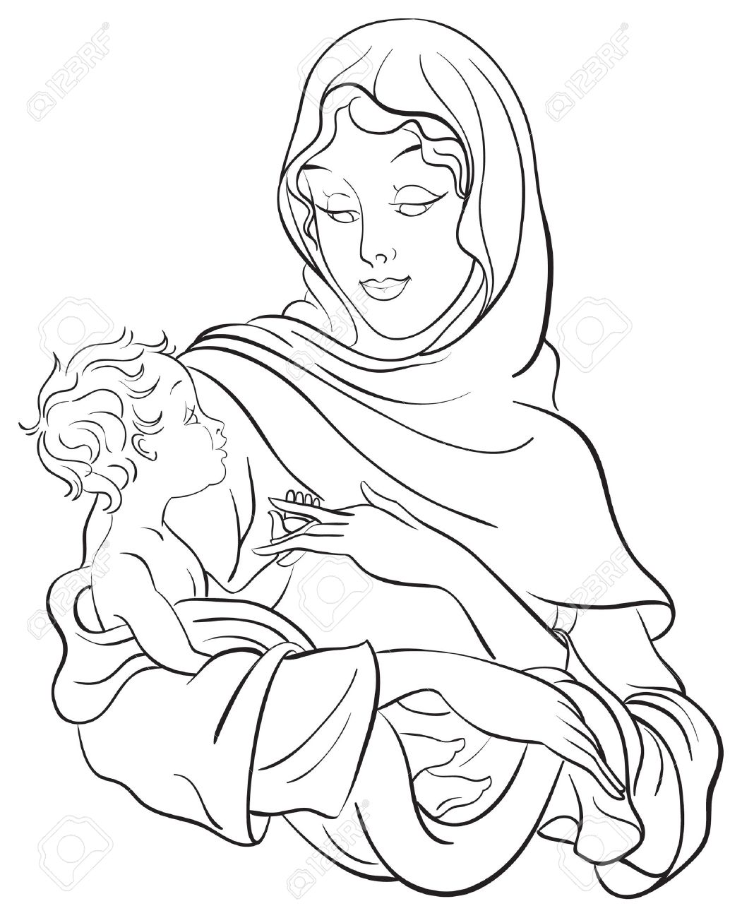 Vector   Virgin Mary Hold Baby Jesus