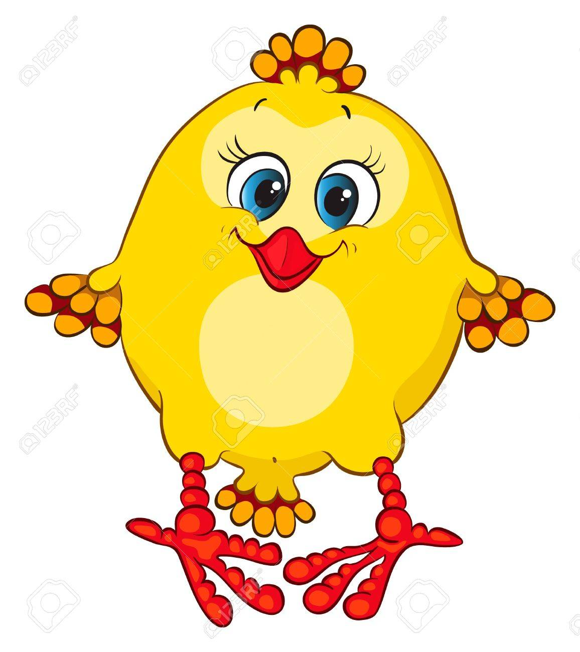Cute blue-eyed chicken for your design Stock Vector - 9607653