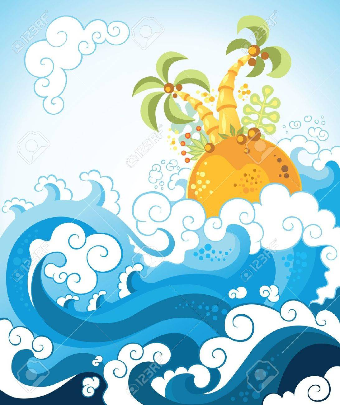 Tropical island in the ocean in decorative style. Various components are grouped separately Stock Vector - 9722191