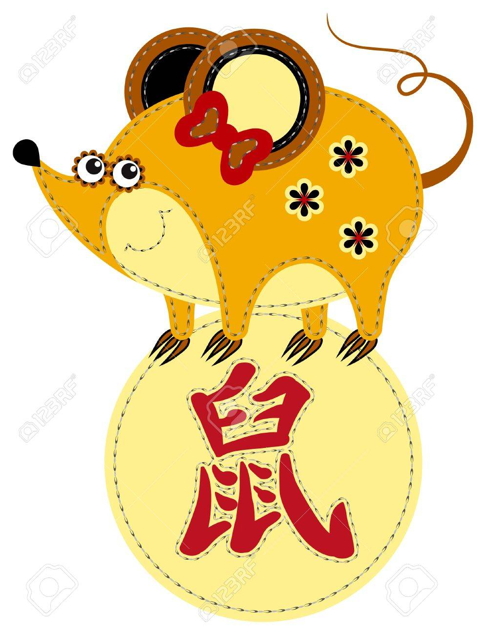Funny applique chinese zodiac. Rat Stock Vector - 9922266