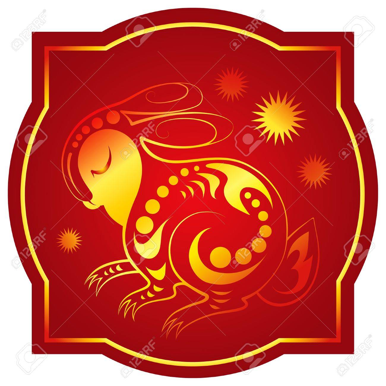 Golden-red chinese horoscope. Rabbit Stock Vector - 10406466