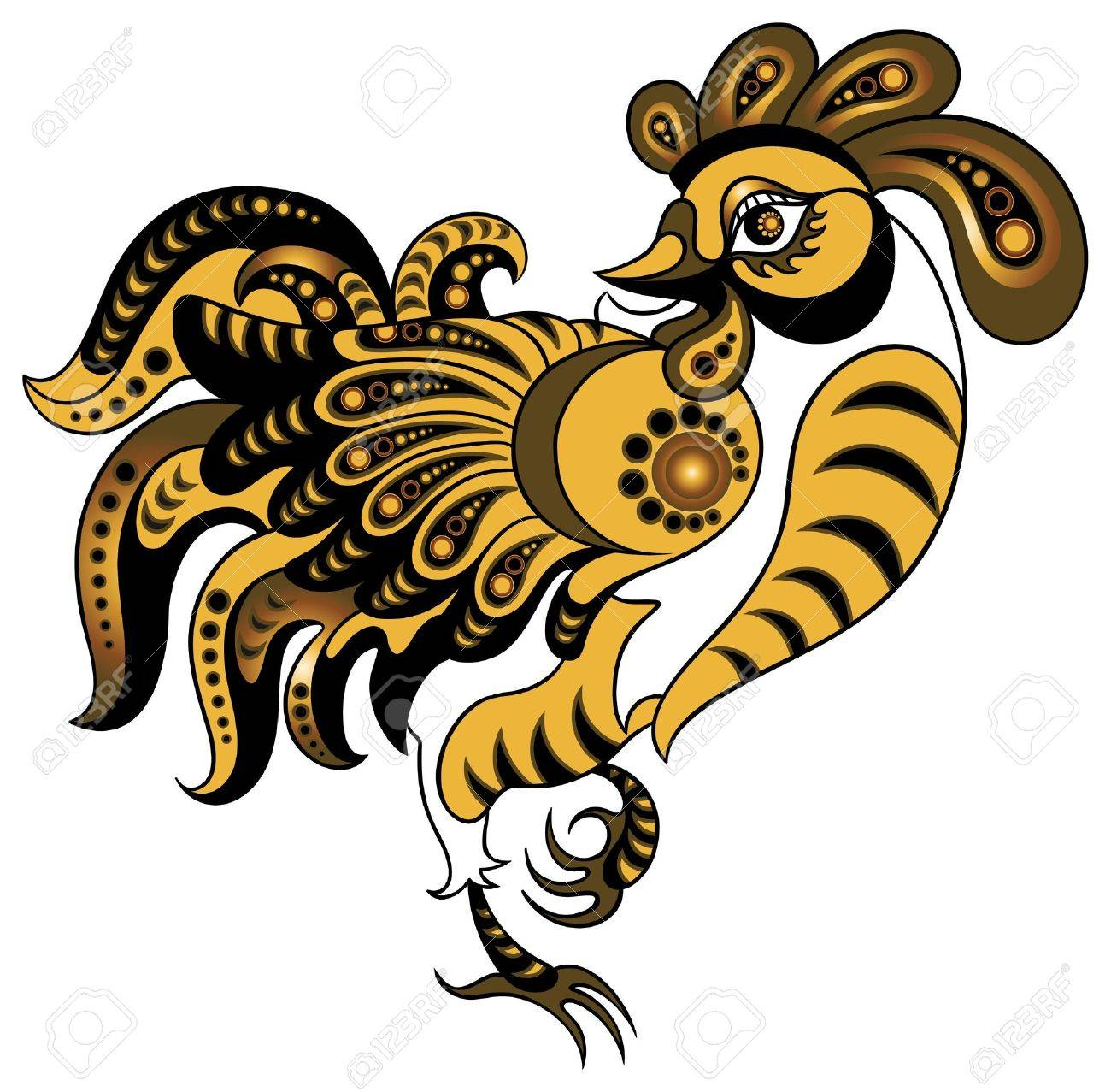 Rooster in gold style Stock Vector - 10501890