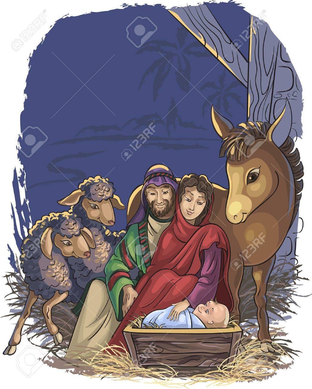 Imagenes Sagrada Familia Navidad.Pesebre De Navidad Con La Sagrada Familia La Imagen Vectorial Esta Muy Bien Organizada En Grupos