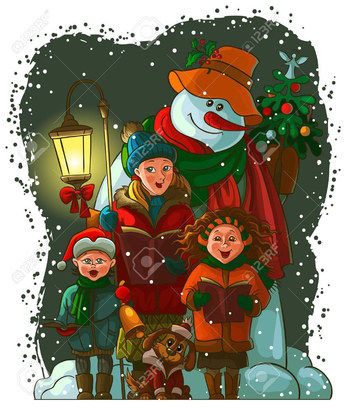 Christmas Carolers. The Vector Art Image Is Very Well-organized ...