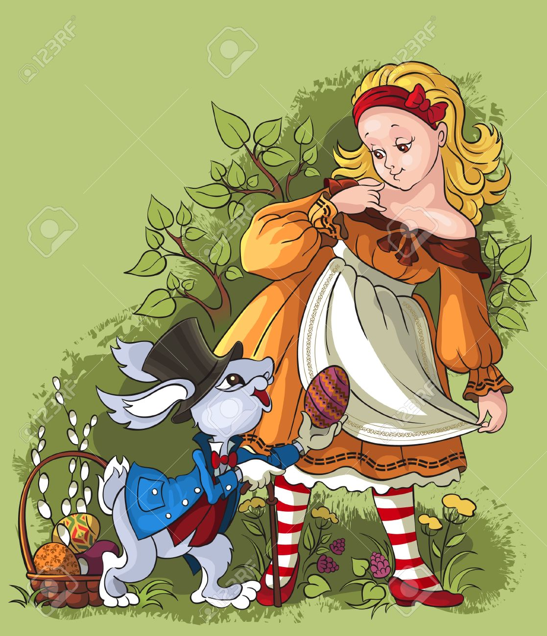 Alice and the White Rabbit. Easter card - 11968316
