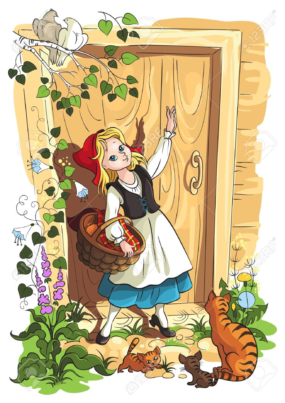 Illustration for the Brothers Grimm fairy tale Little Red Riding Hood - 12301760