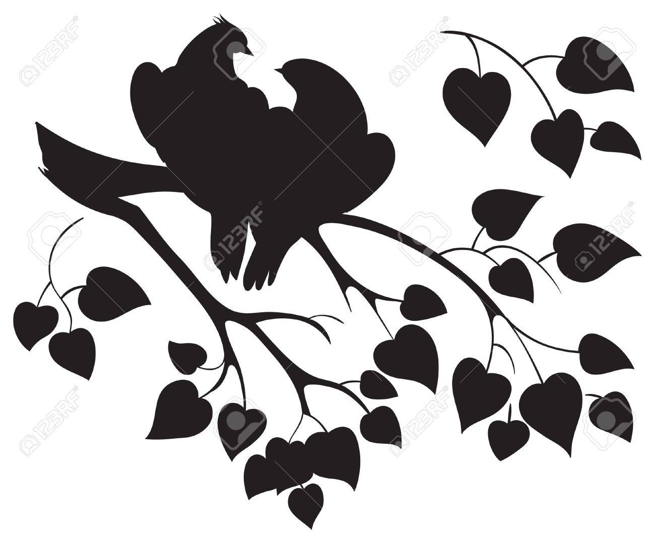 Vector silhouette of love birds sitting on branch tree - 12301743