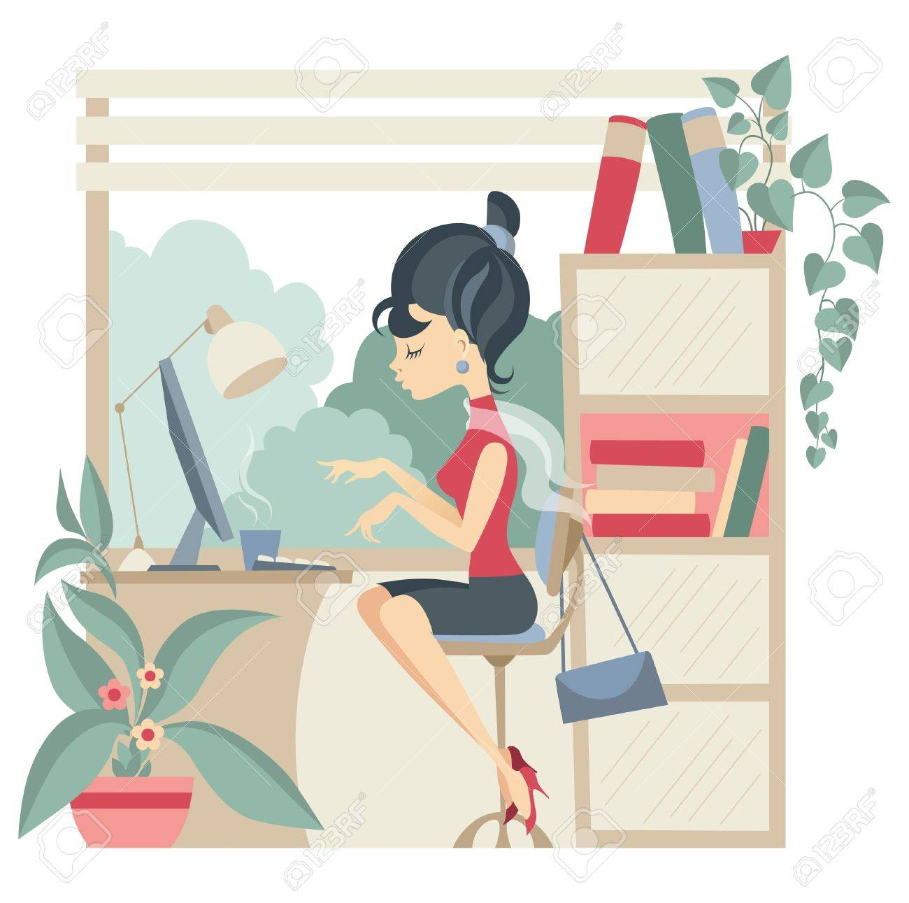 Young business woman using computer at office - 12301745