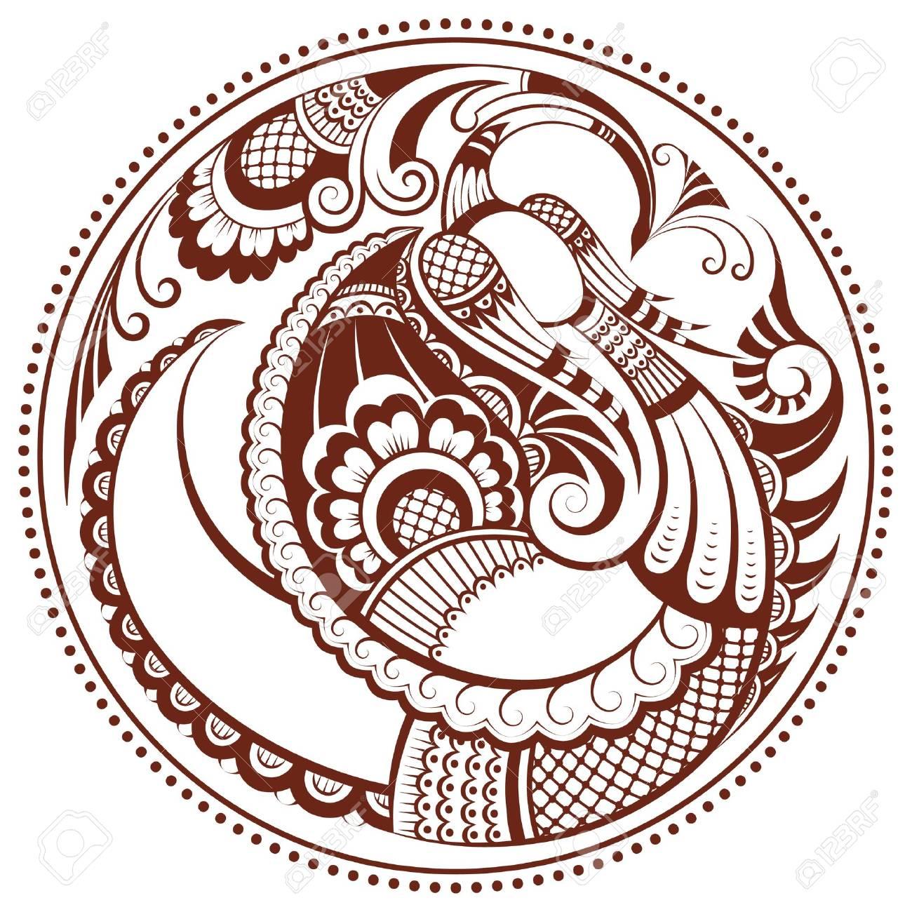 Abstract phoenix bird in mehndi style - 12492216