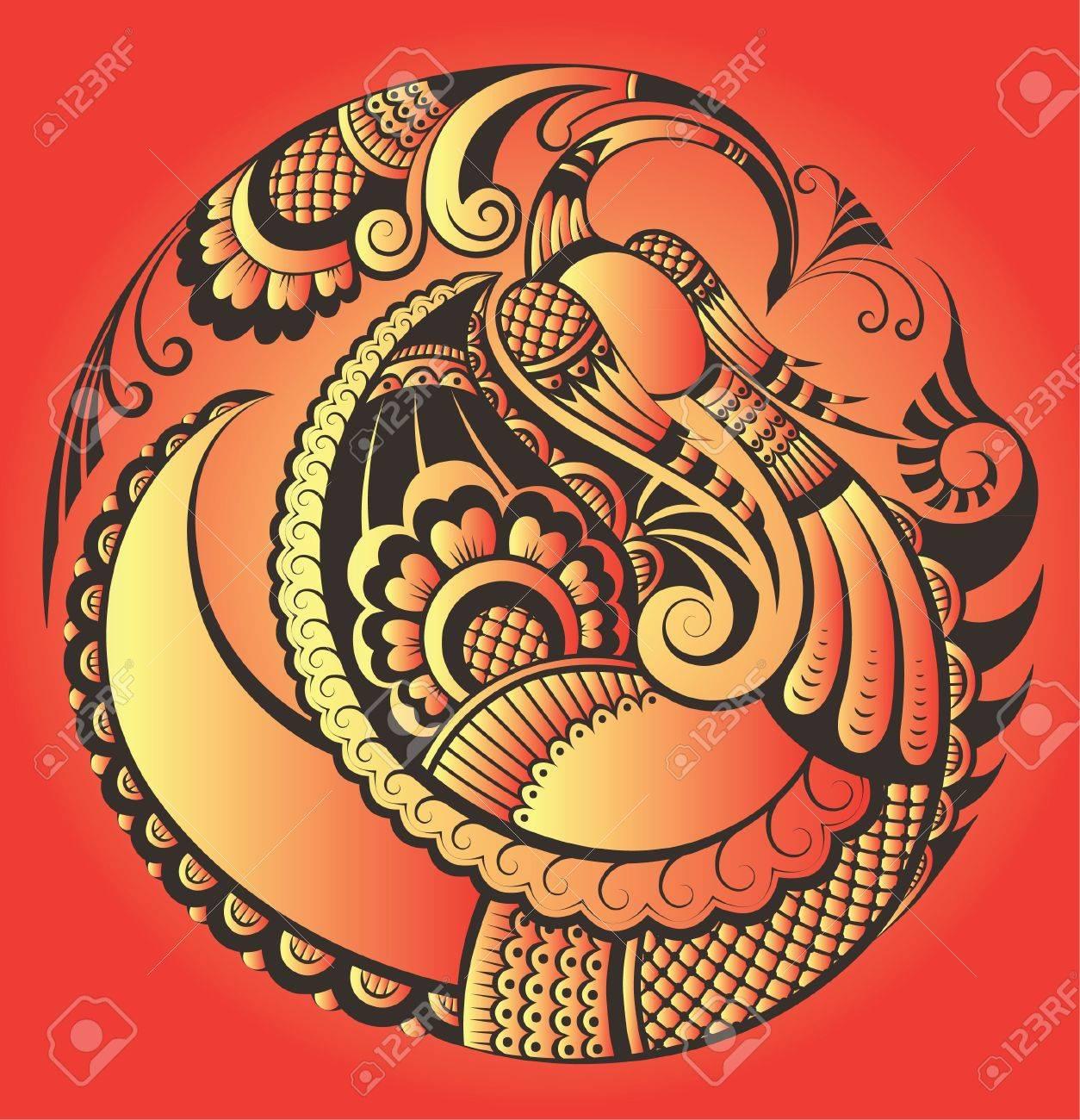 Abstract phoenix bird in paisley style - 12492228