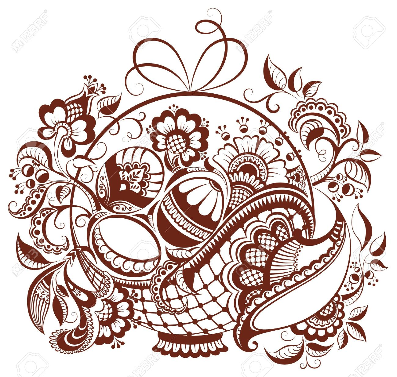Easter floral henna design. The vector paisley abstract background isolated on white - 12492224