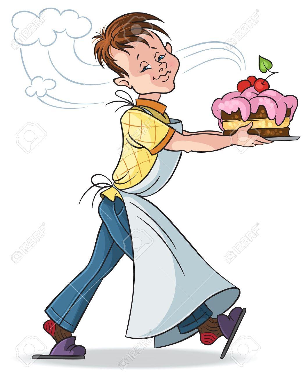 Happy birthday mom Happy boy with a cake on a white background - 12793055