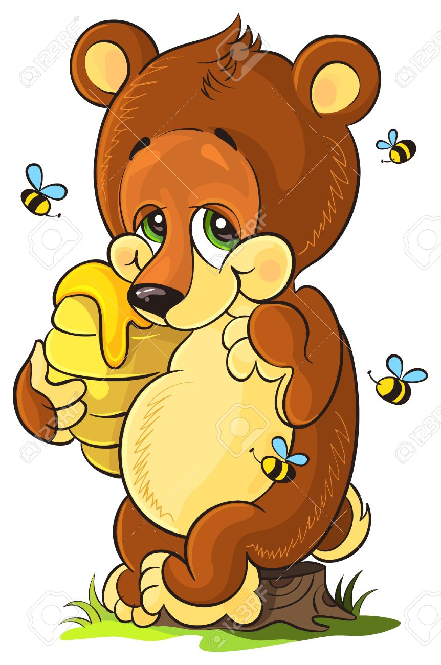 Vector illustration of cute bear cub with honey on white background Stock Vector - 13697518