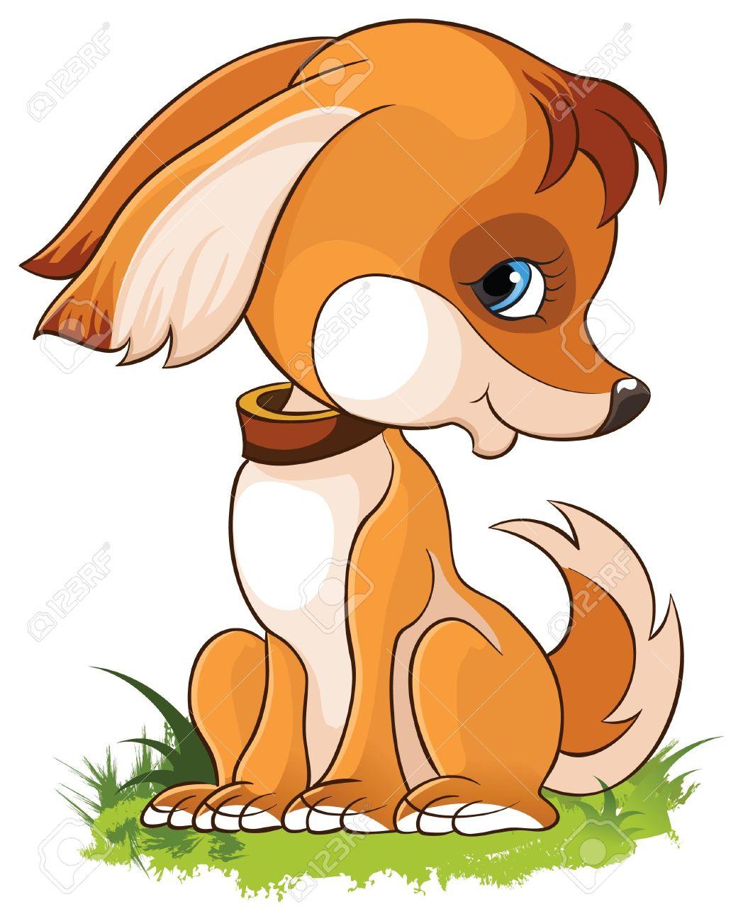 illustration of cute cartoon puppy dog isolated on white background - 13697527