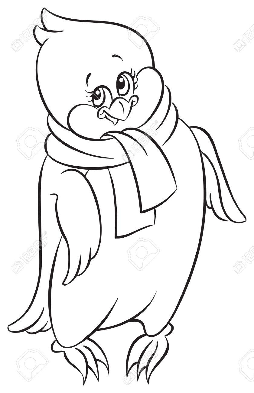 Libro Para Colorear Con Lindo Pequeño Pingüino Ilustraciones ...