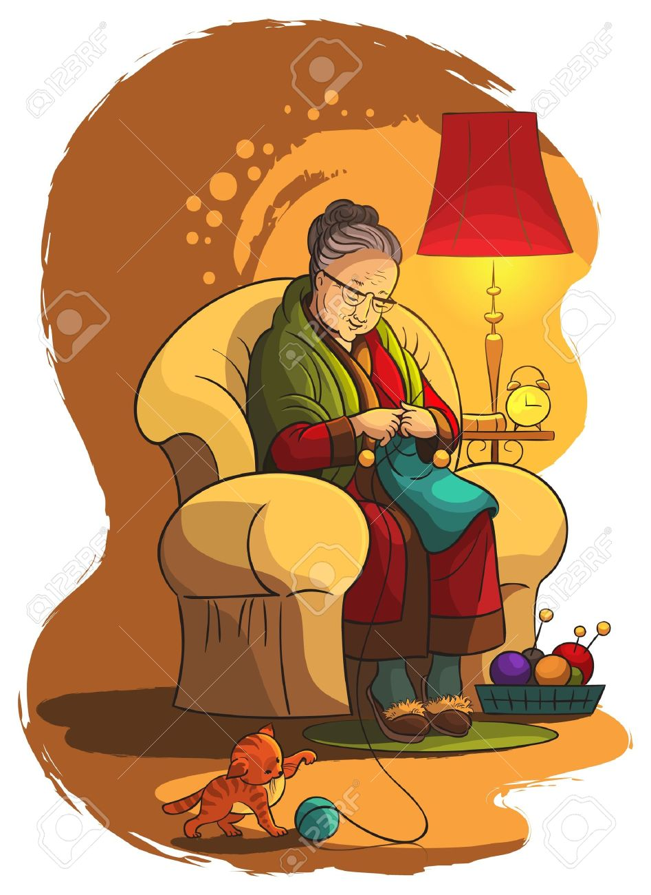 Grandmother sitting in armchair and knitting - 14018489