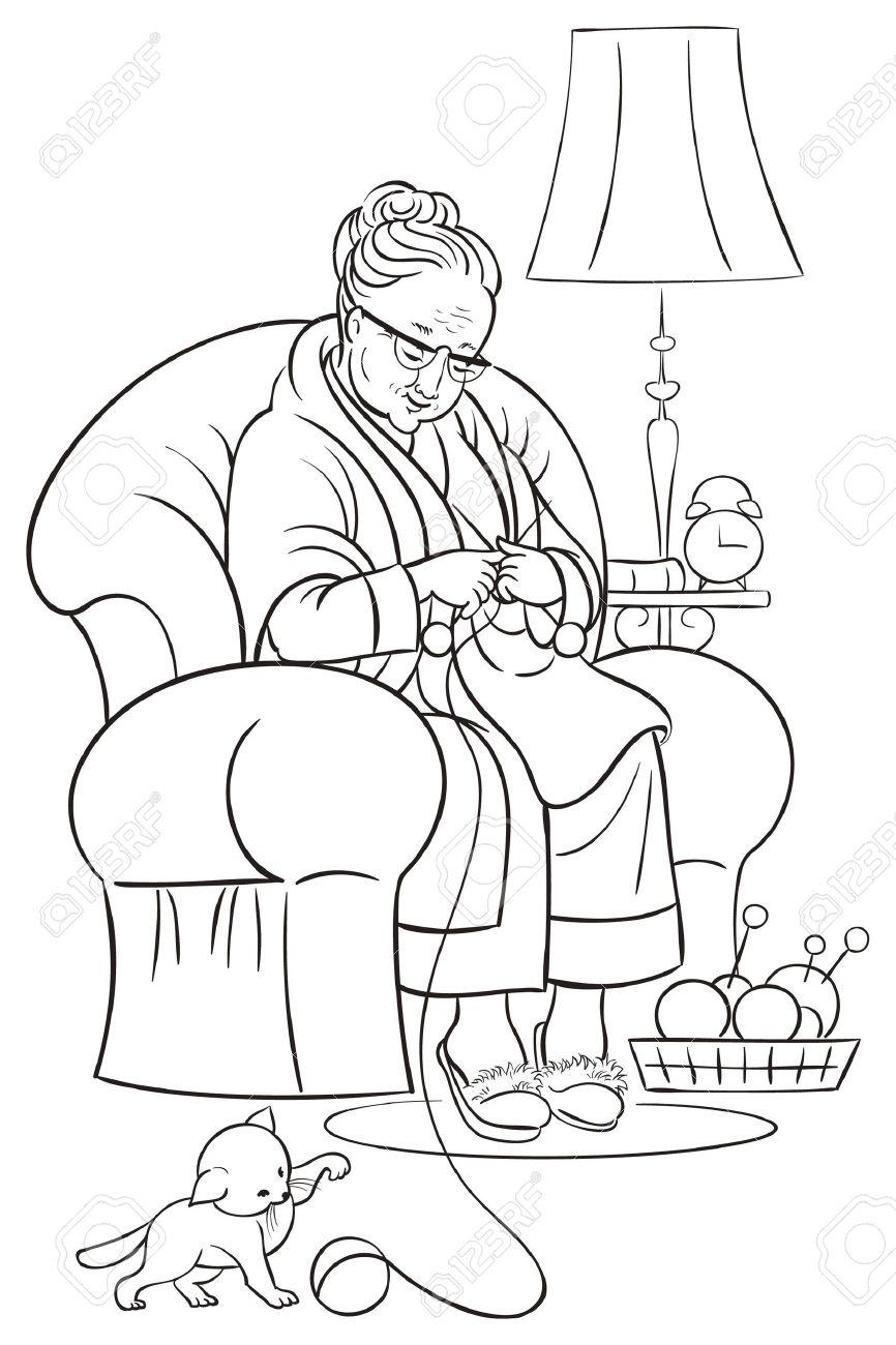 Libro Para Colorear Con La Abuela Sentada En El Sillón Y Hacer Punto ...
