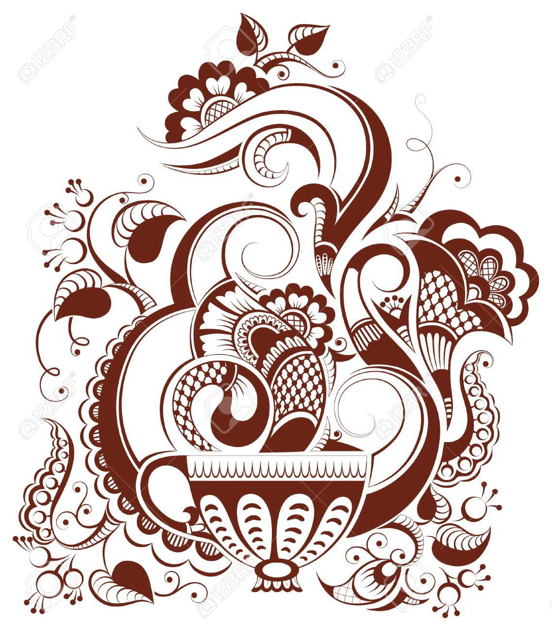 cup of tea with floral design (in mehndi style) Stock Vector - 14477228